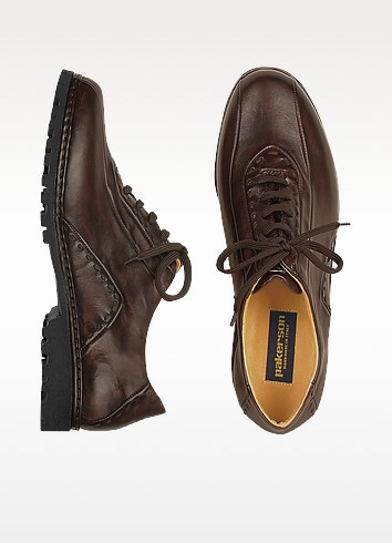 Dark Brown Italian Handmade Leather Lace-up Shoes - Pakerson