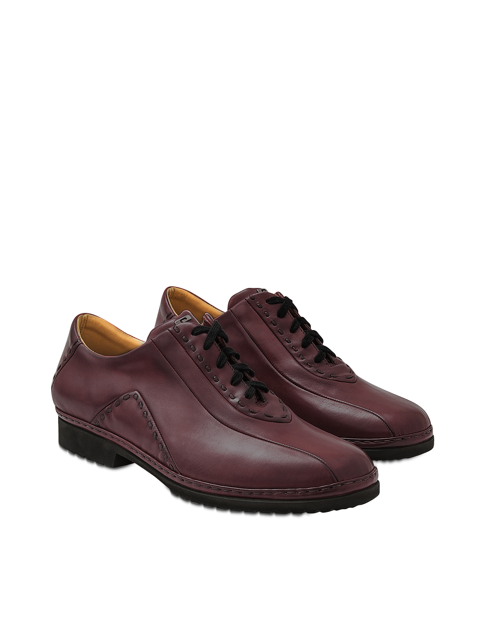 Pakerson Designer Shoes, Burgundy Italian Hand Made Leather Lace-up Shoes