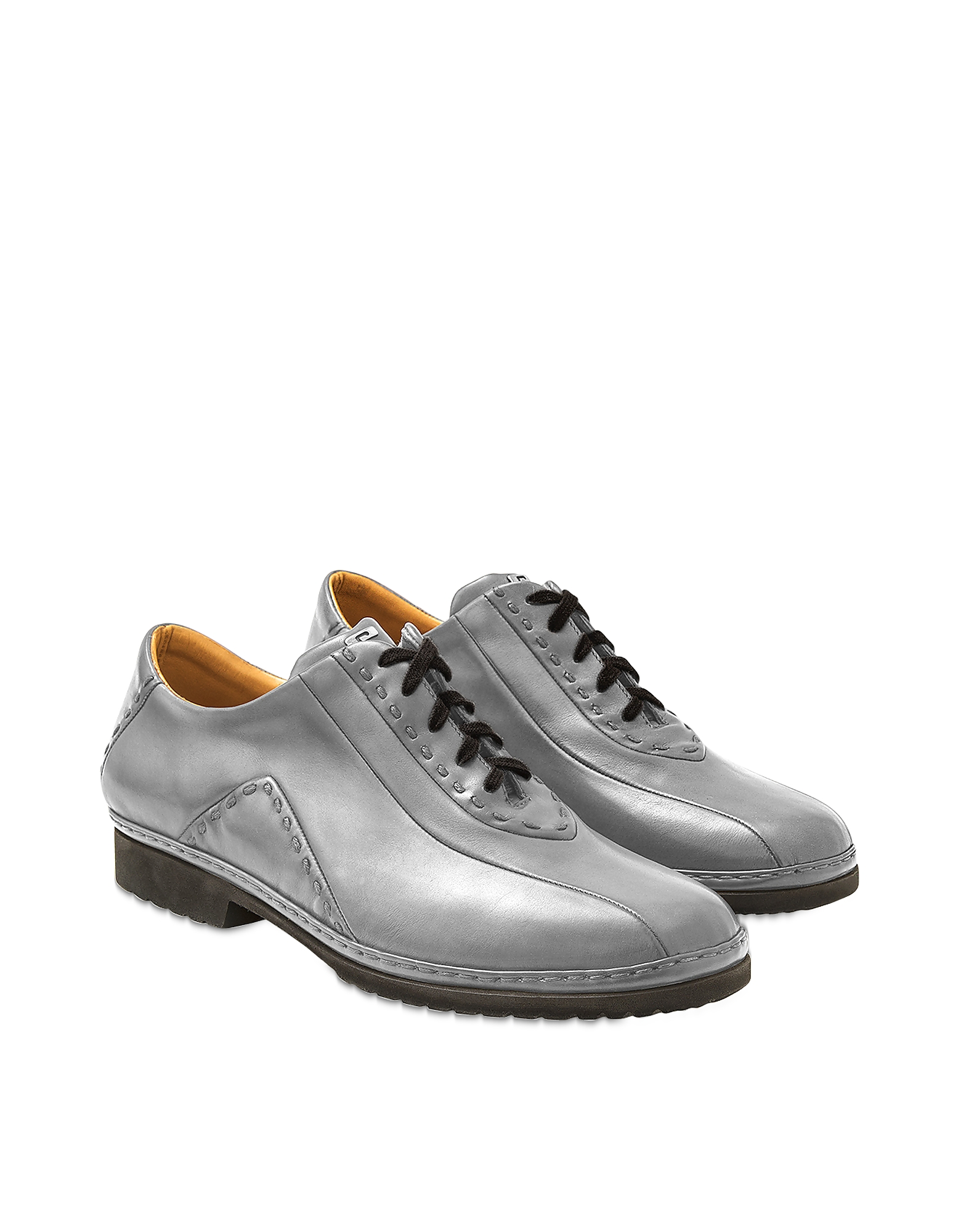 Gray Italian Hand Made Leather Lace-up Shoes