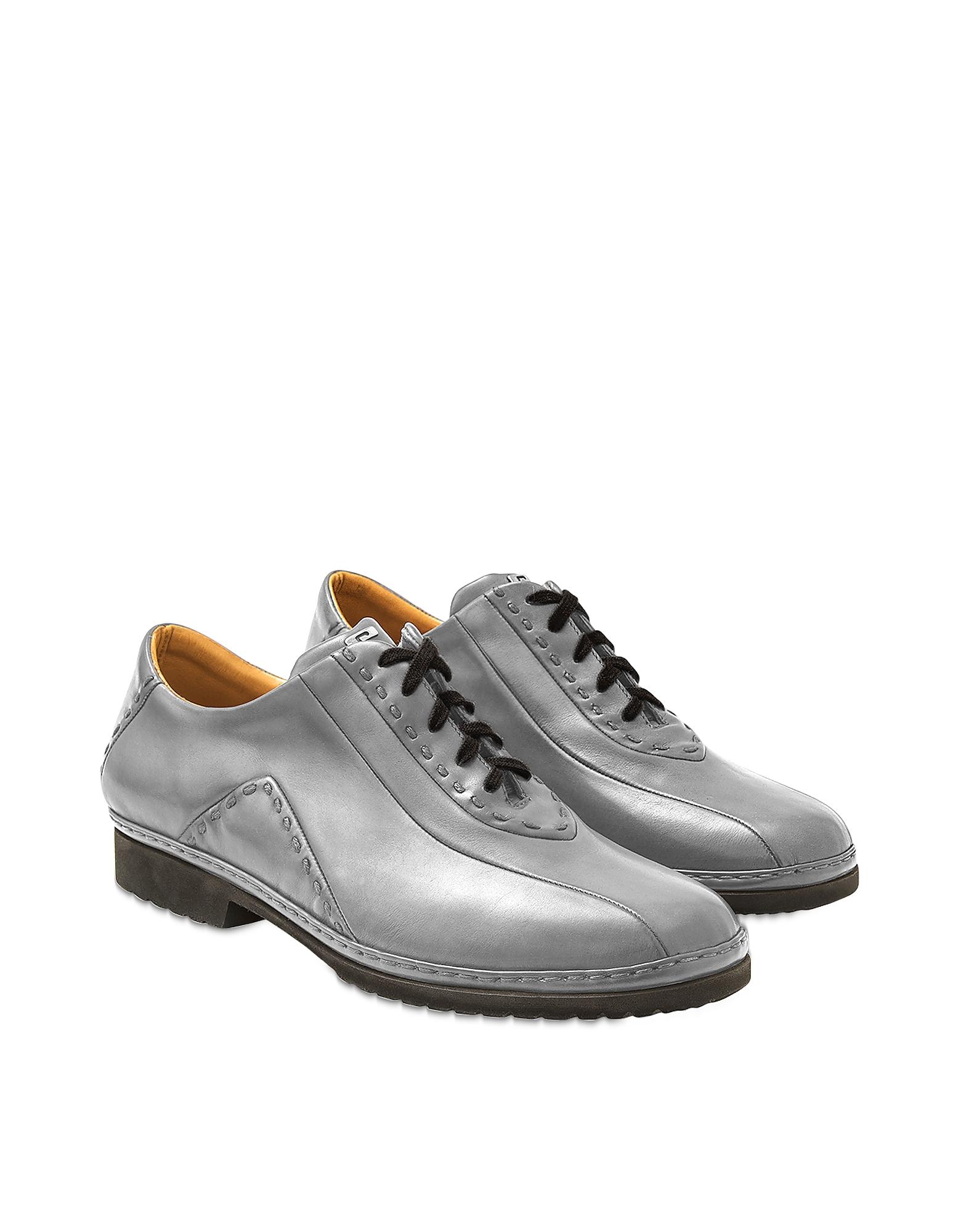Gris italien Fabriqué à la Main en Cuir Lace-up Chaussures