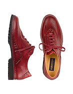 Lux-ID 208205 Red Italian Hand Made Leather Lace-up Shoes