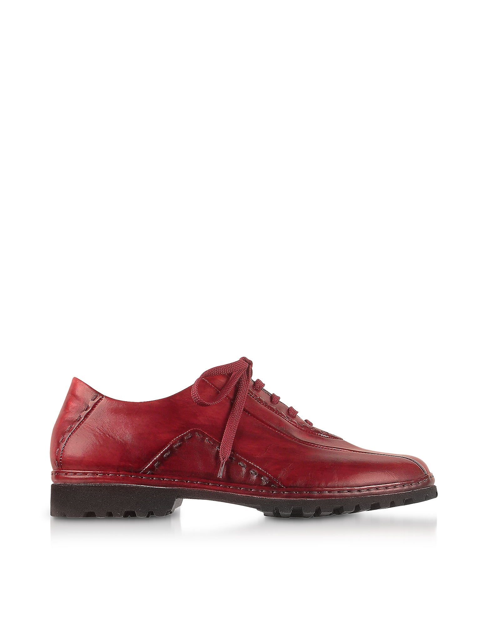 Pakerson Shoes, Red Italian Hand Made Leather Lace-up Shoes