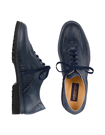 Blue Italian Handmade Leather Lace-up Shoes