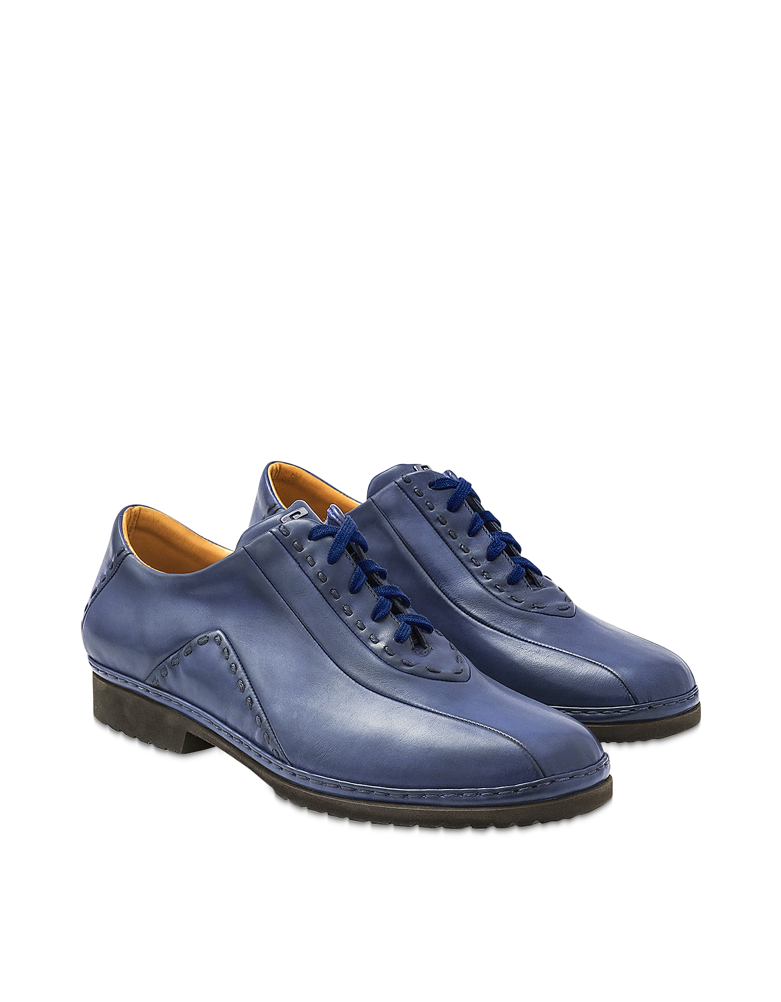 Pakerson Designer Shoes, Blue Italian Hand Made Leather Lace-up Shoes