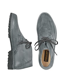Gray Handmade Italian Leather Ankle Boots - Pakerson