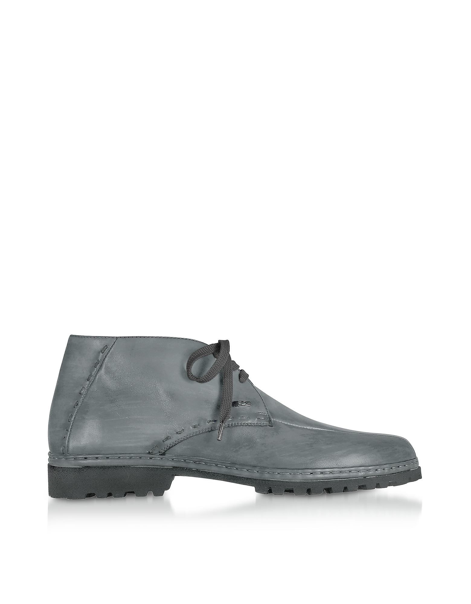 Pakerson Shoes, Gray Handmade Italian Leather Ankle Boots