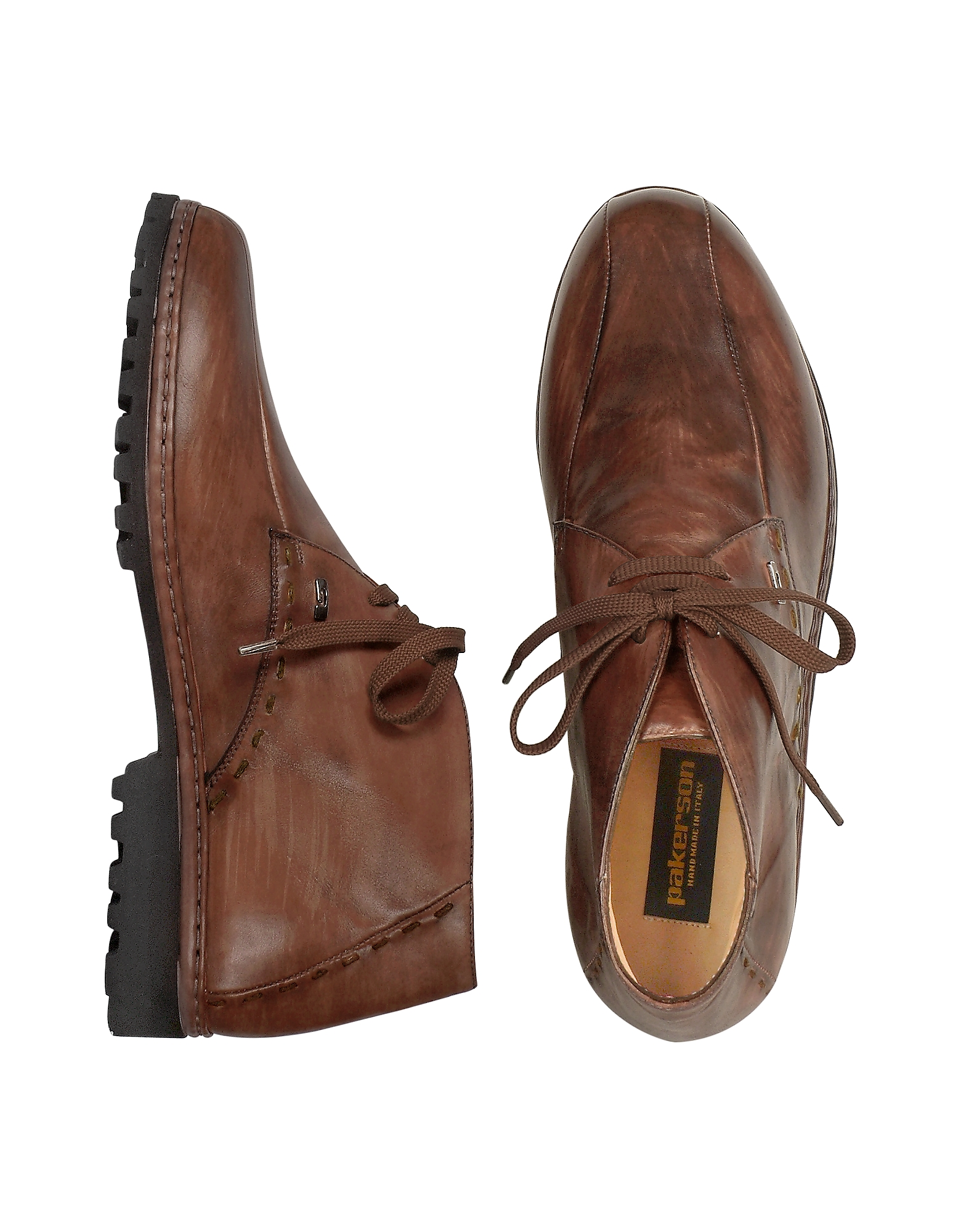 Pakerson Shoes, Brown Handmade Italian Leather Ankle Boots