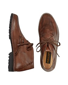 Brown Handmade Italian Leather Ankle Boots - Pakerson
