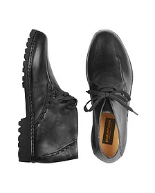 Black Handmade Italian Leather Ankle Boots - Pakerson