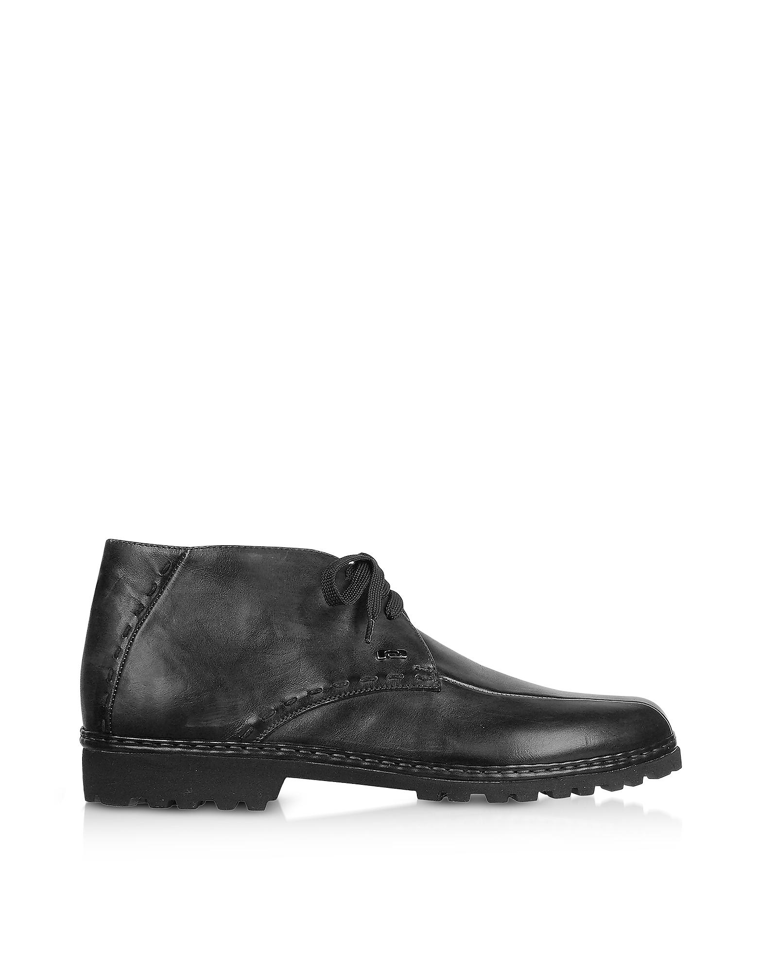 Black Handmade Italian Leather Ankle Boots