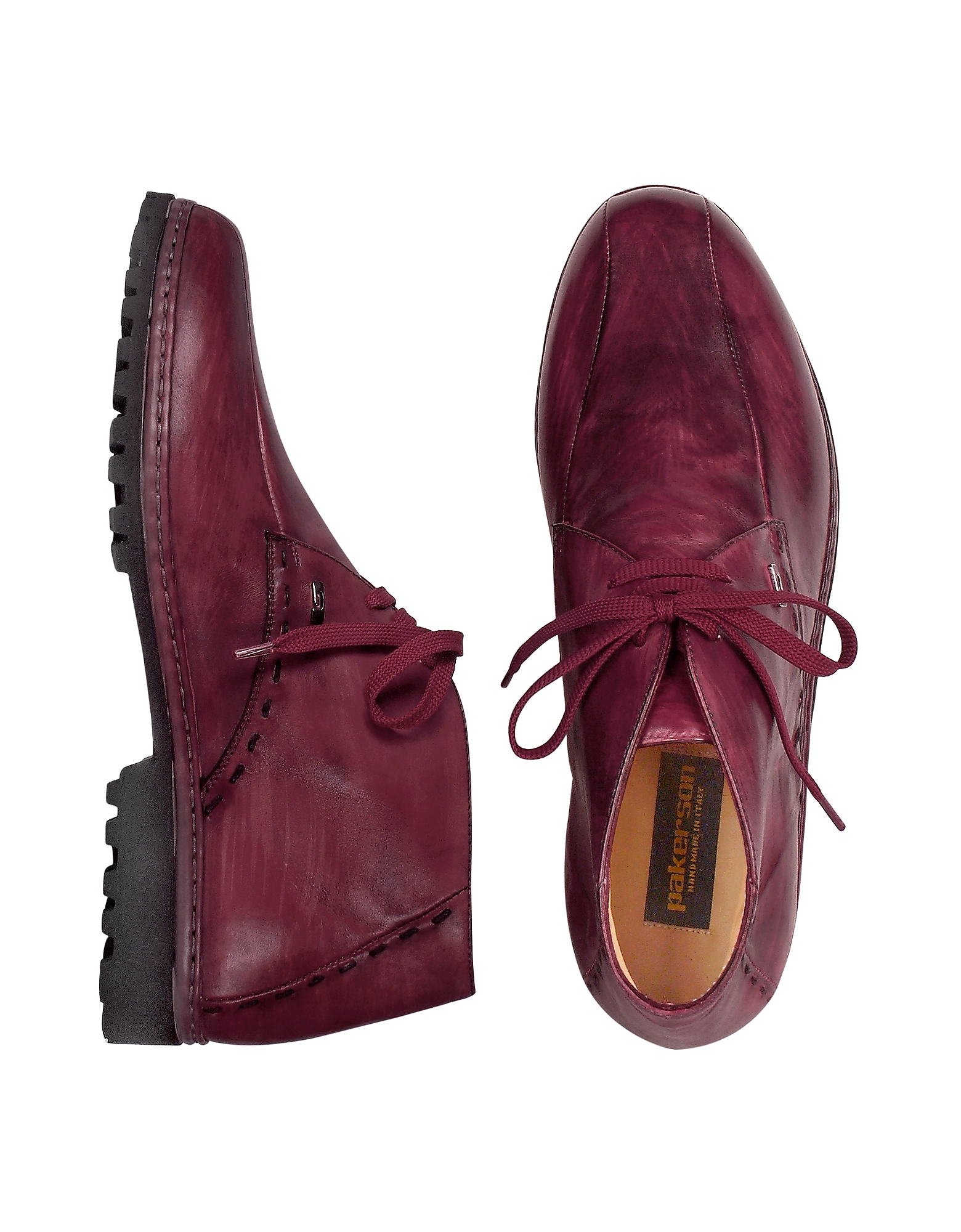 Pakerson Shoes, Wine Red Handmade Italian Leather Ankle Boots