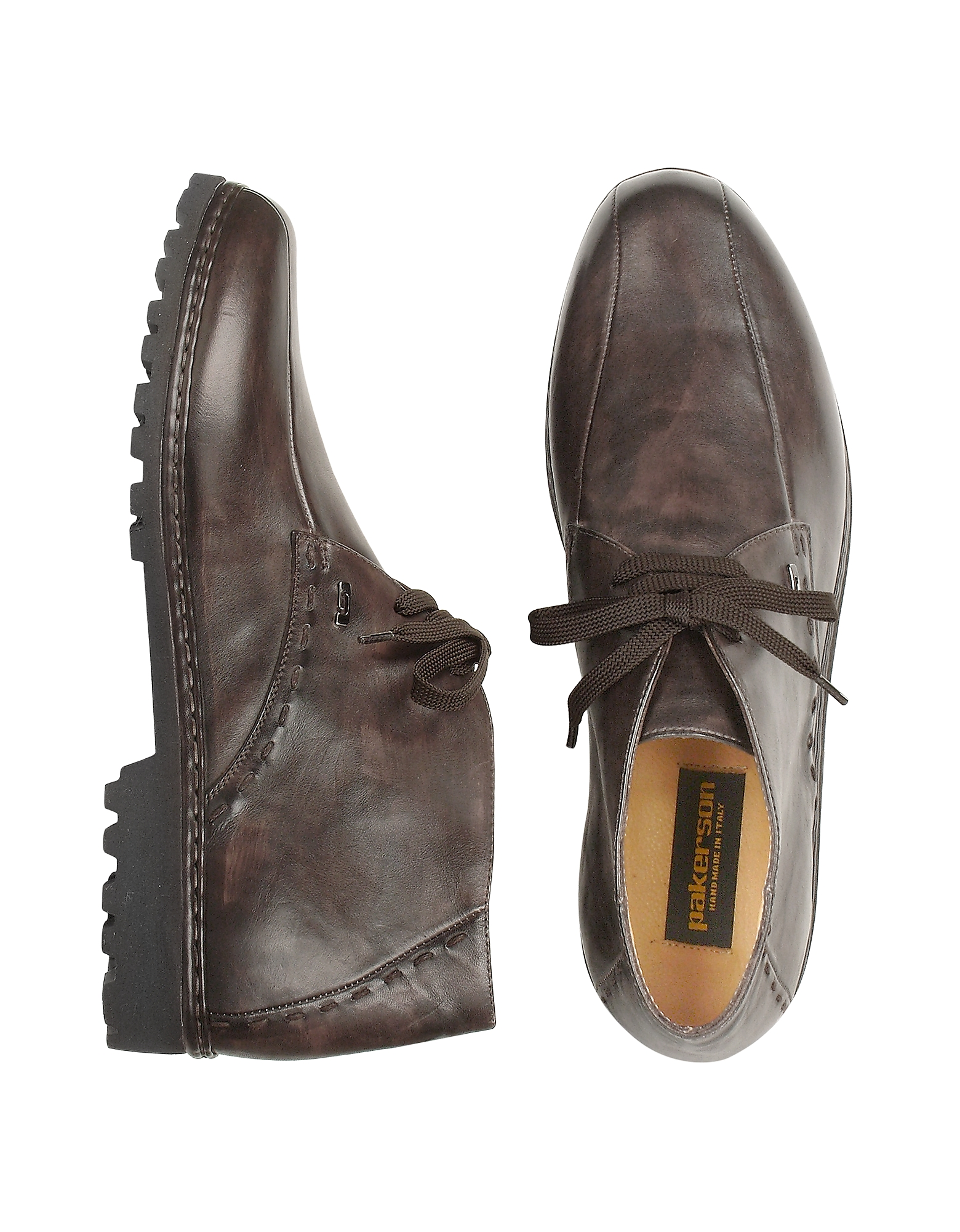 Pakerson Shoes, Dark Brown Handmade Italian Leather Ankle Boots