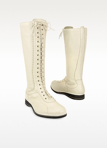 Women's Ivory Soft Italian Leather Thermal Lace-up Boots - Pakerson