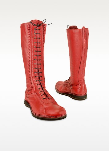 Women's Red Soft Italian Leather Thermal Lace-up Boots - Pakerson