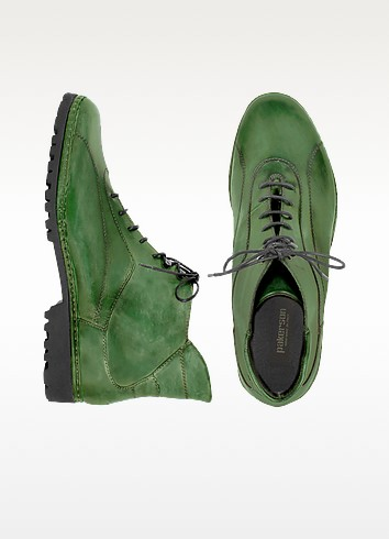 Women's Green Genuine Italian Leather Lace-up Ankle Boots - Pakerson