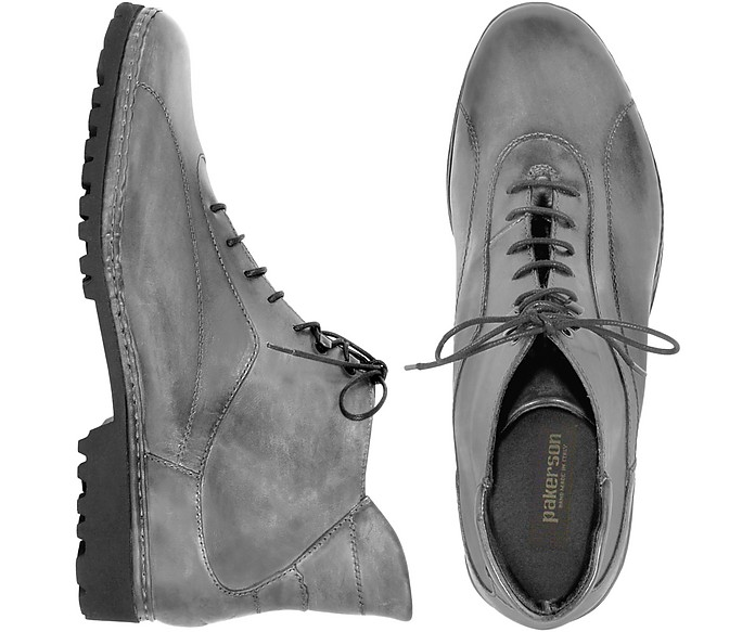 Women's Gray Genuine Italian Leather Lace-up Ankle Boots - Pakerson