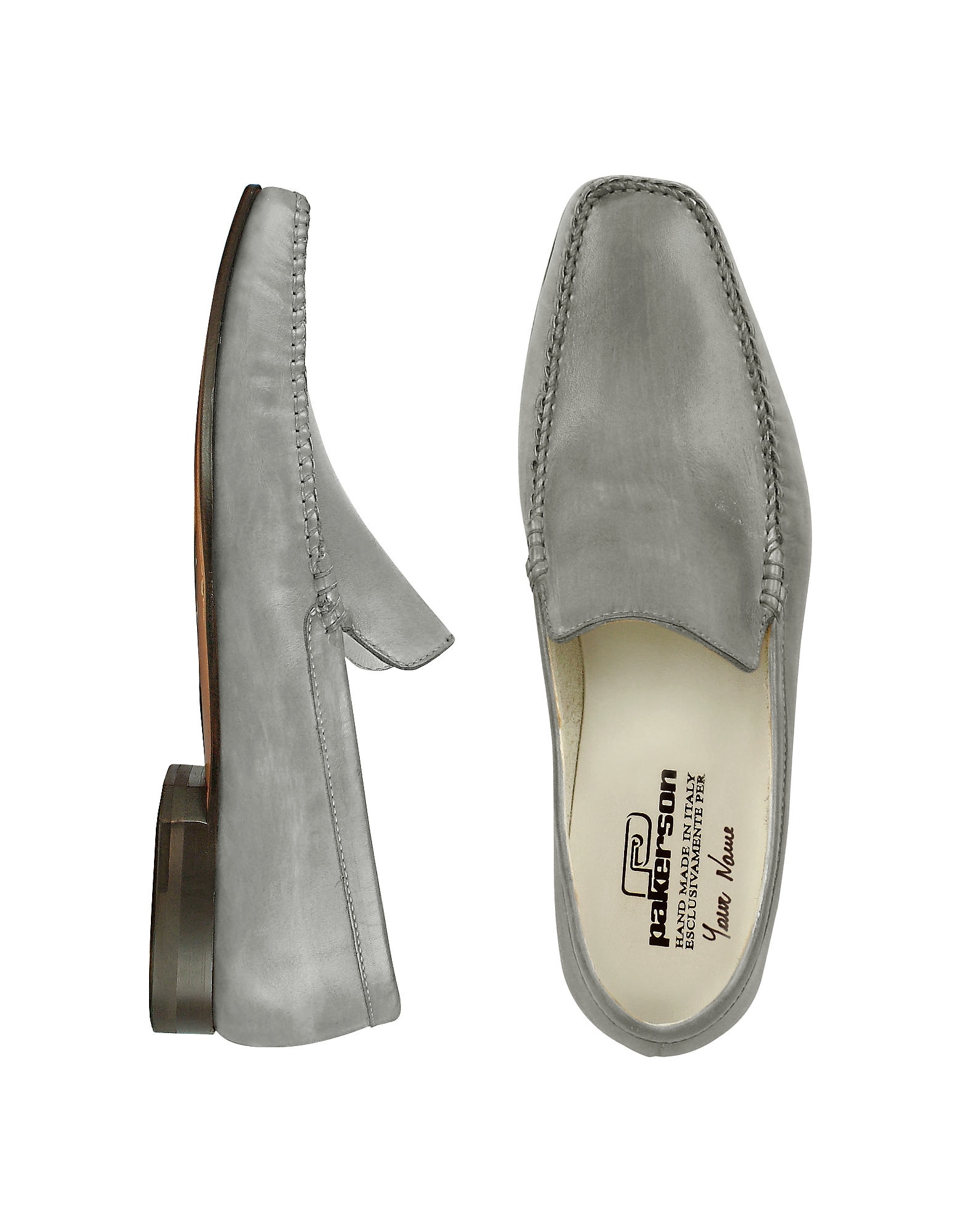 Pakerson Shoes, Gray Italian Handmade Leather Loafer Shoes