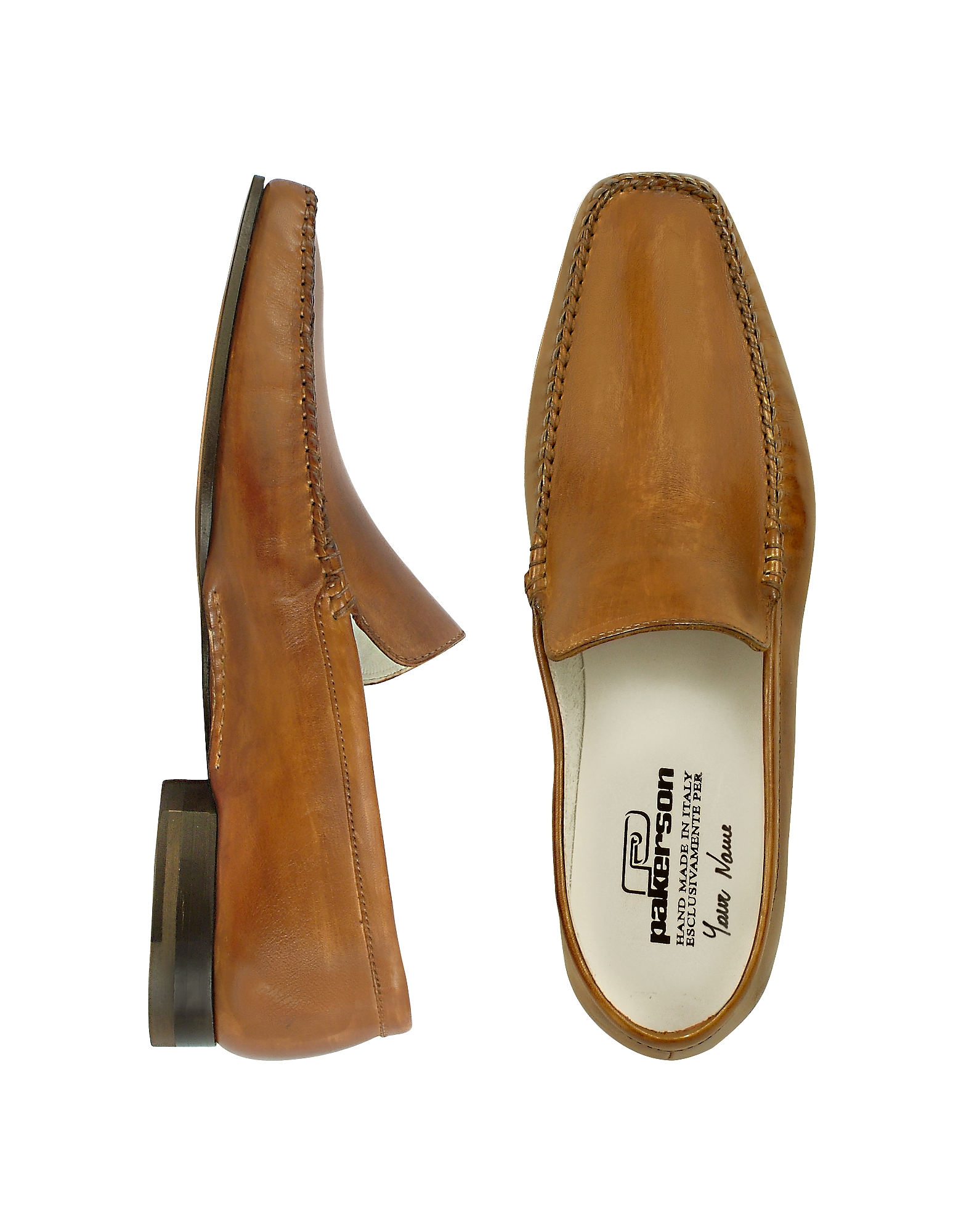Pakerson Shoes, Brown Italian Handmade Leather Loafer Shoes