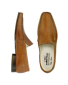 Brown Italian Handmade Leather Loafer Shoes - Pakerson