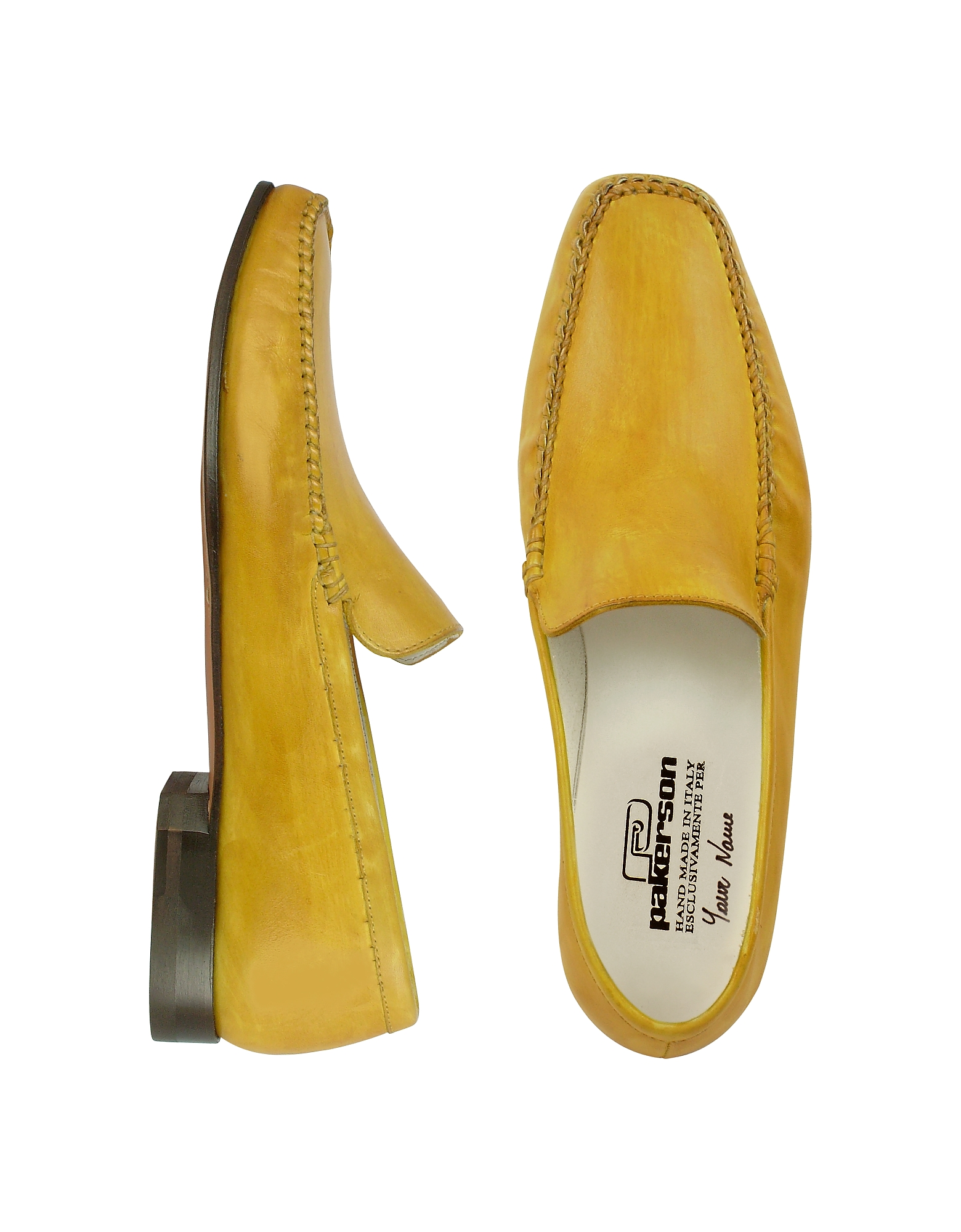 Yellow Italian Handmade Leather Loafer Shoes