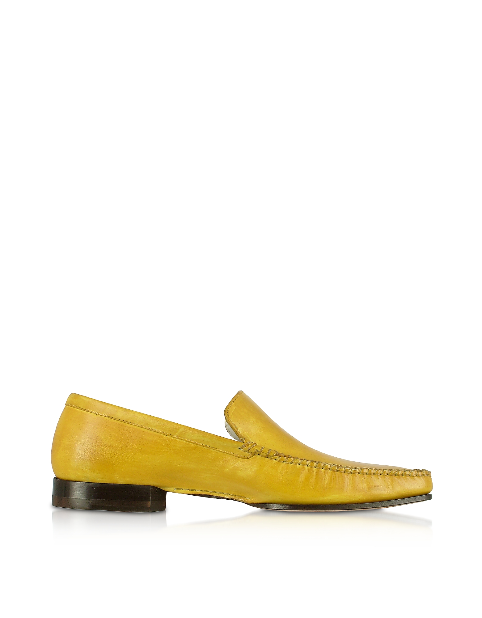 Pakerson Designer Shoes, Yellow Italian Handmade Leather Loafer Shoes
