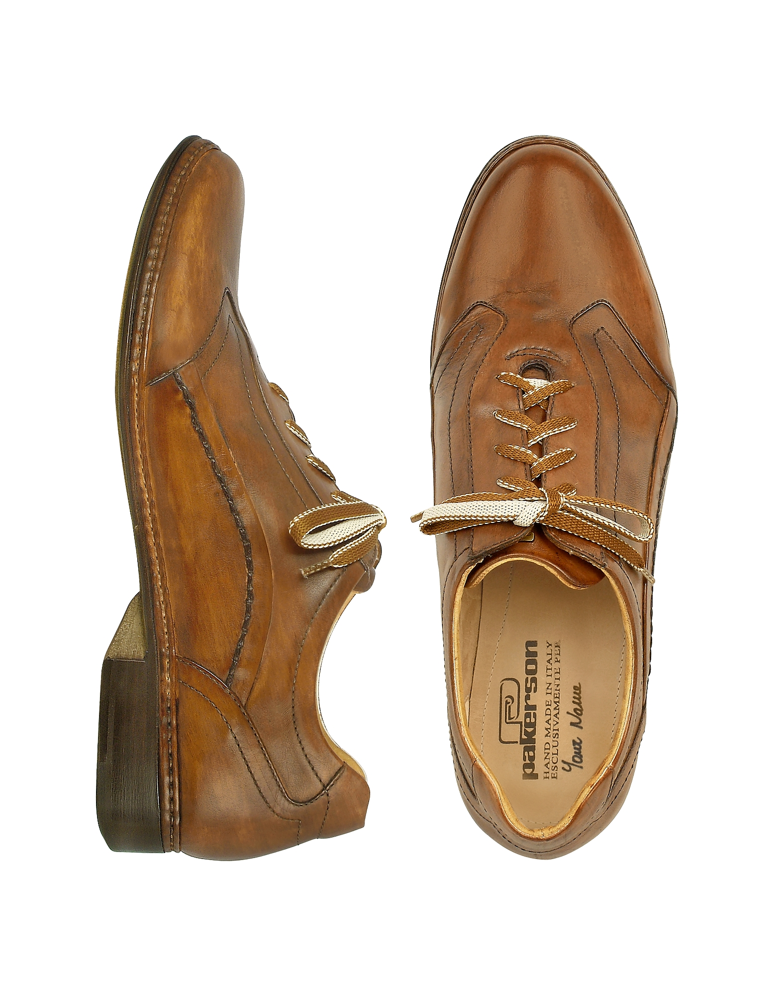 Pakerson Shoes, Brown Italian Handmade Leather Lace-up Shoes