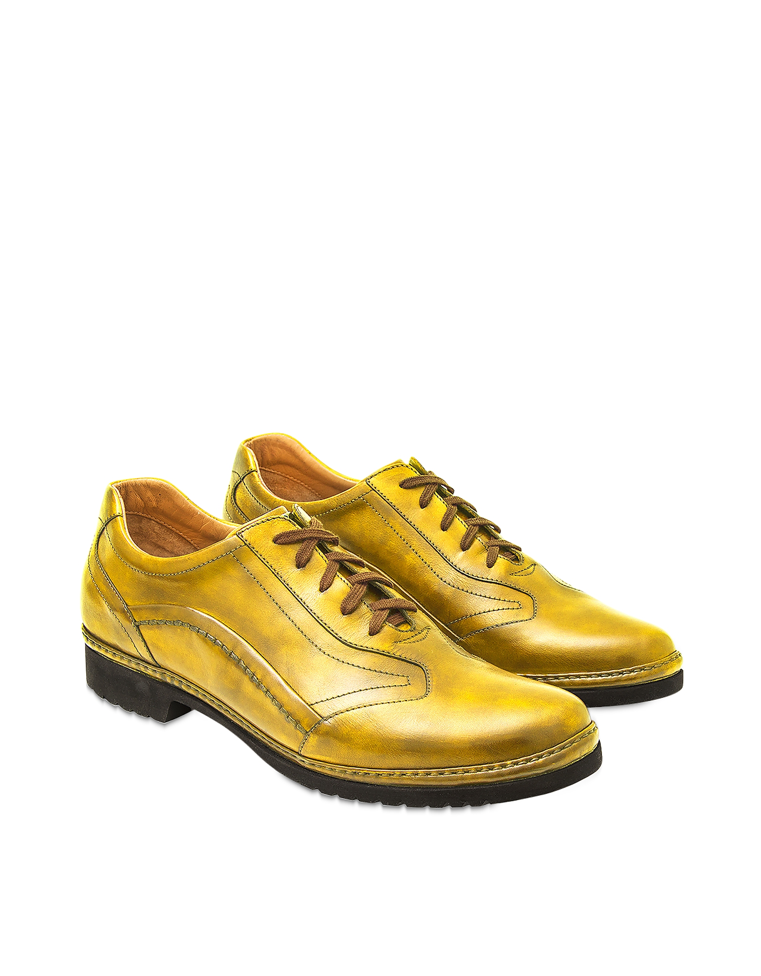 Pakerson Designer Shoes, Yellow Italian Handmade Leather Lace-up Shoes