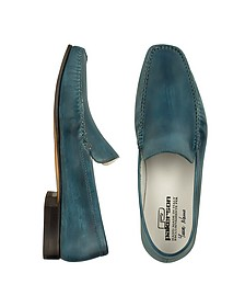 Petrol Blue Italian Handmade Leather Loafer Shoes - Pakerson