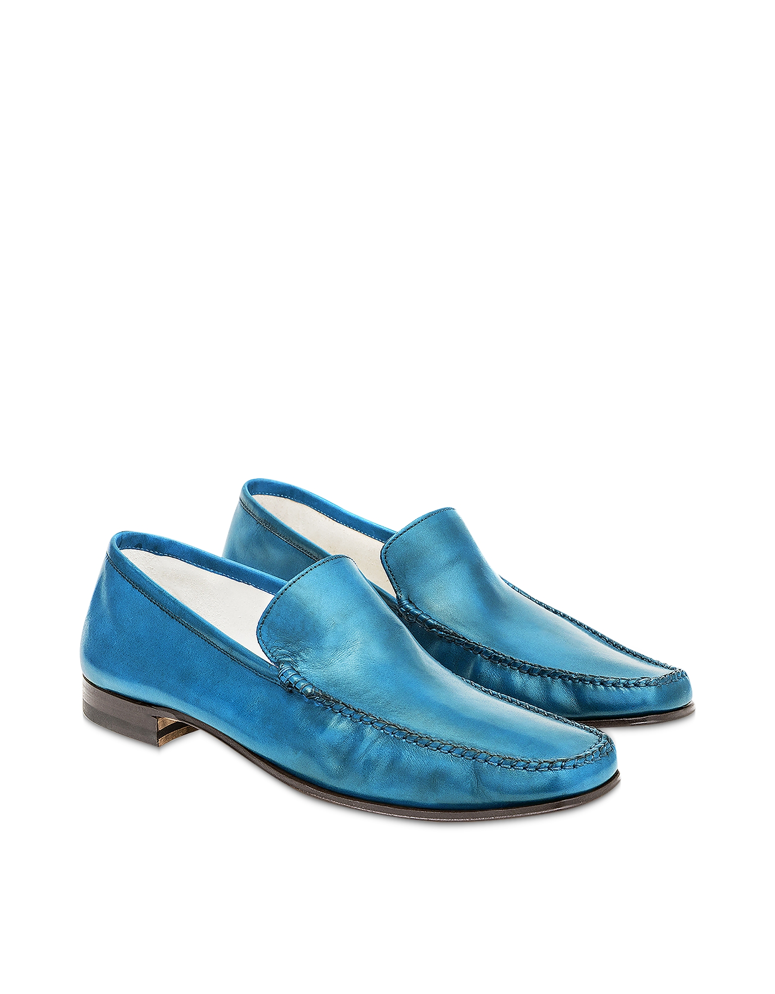 Pakerson Designer Shoes, Sky Blue Italian Handmade Leather Loafer Shoes
