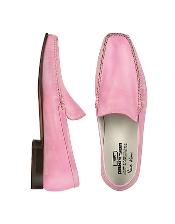 Pink Italian Handmade Leather Loafer Shoes