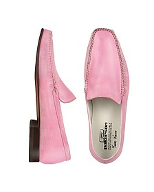 Pink Italian Handmade Leather Loafer Shoes - Pakerson