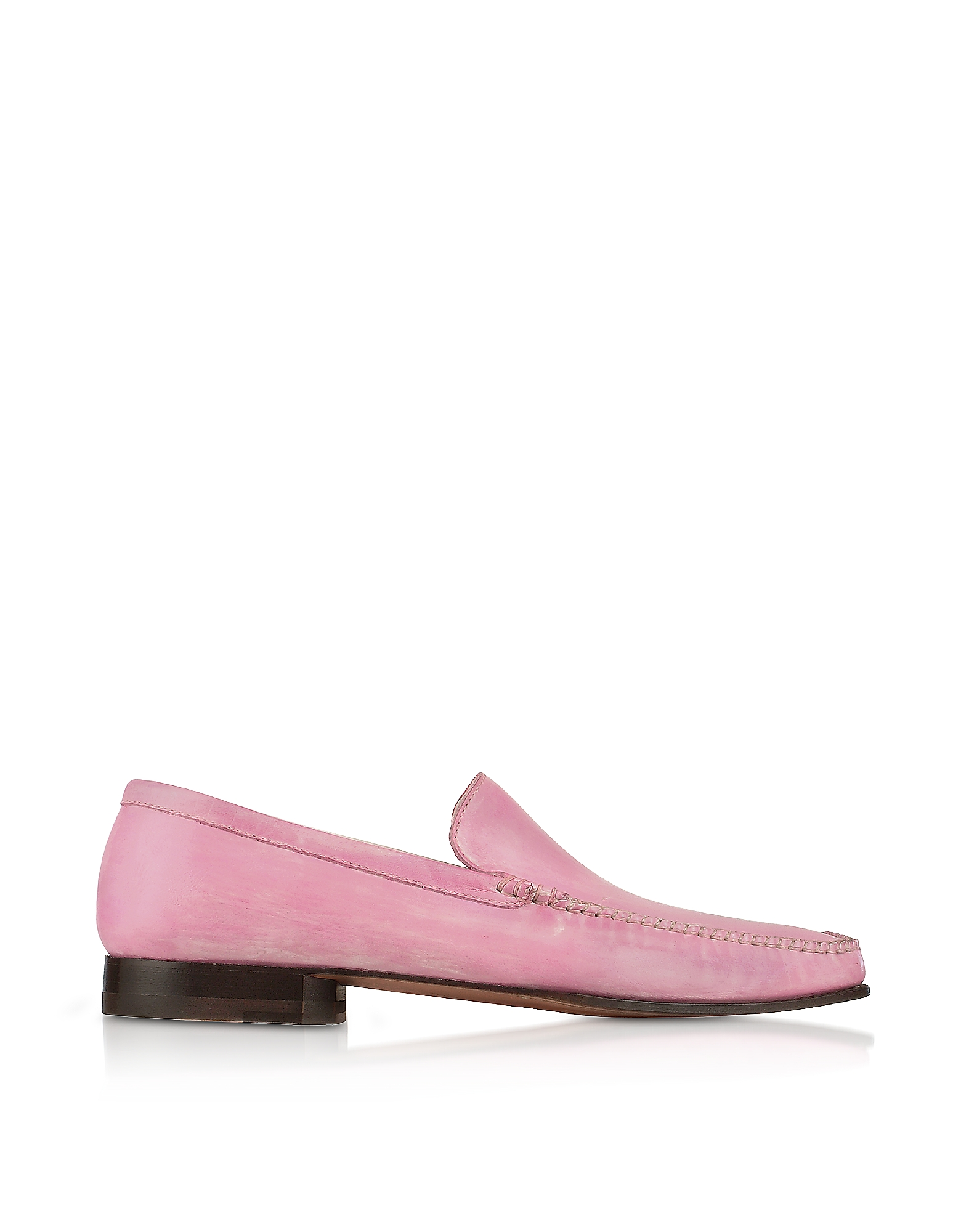 Pakerson Designer Shoes, Pink Italian Handmade Leather Loafer Shoes