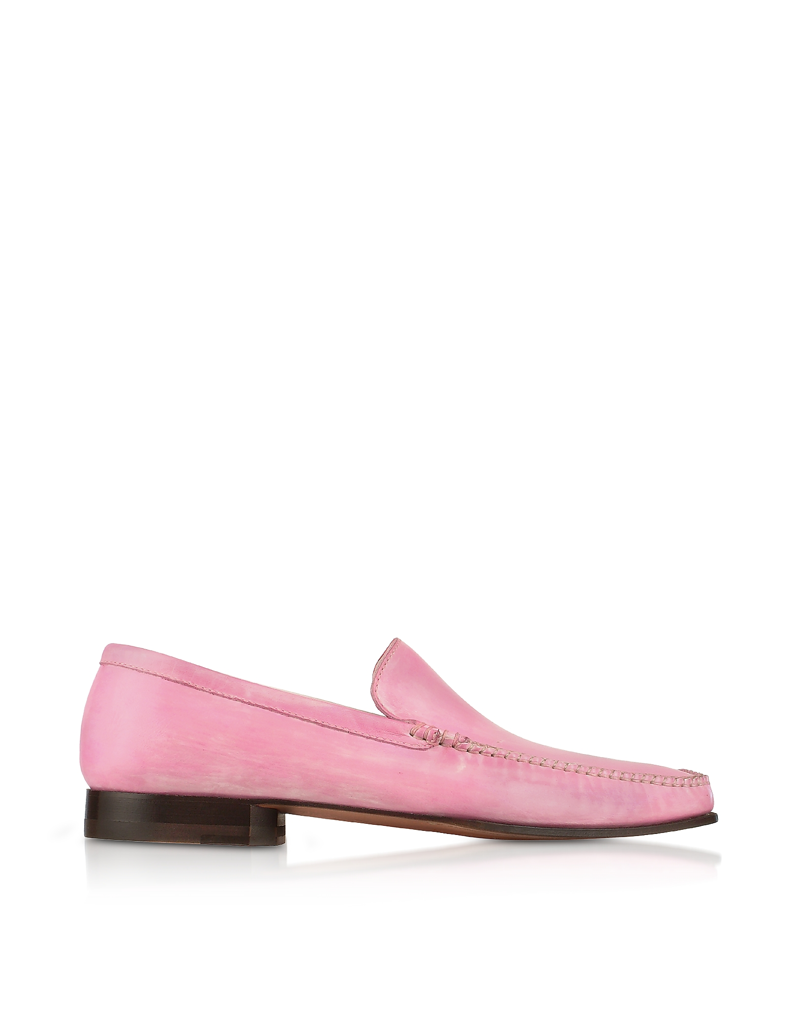 Pakerson Shoes, Pink Italian Handmade Leather Loafer Shoes
