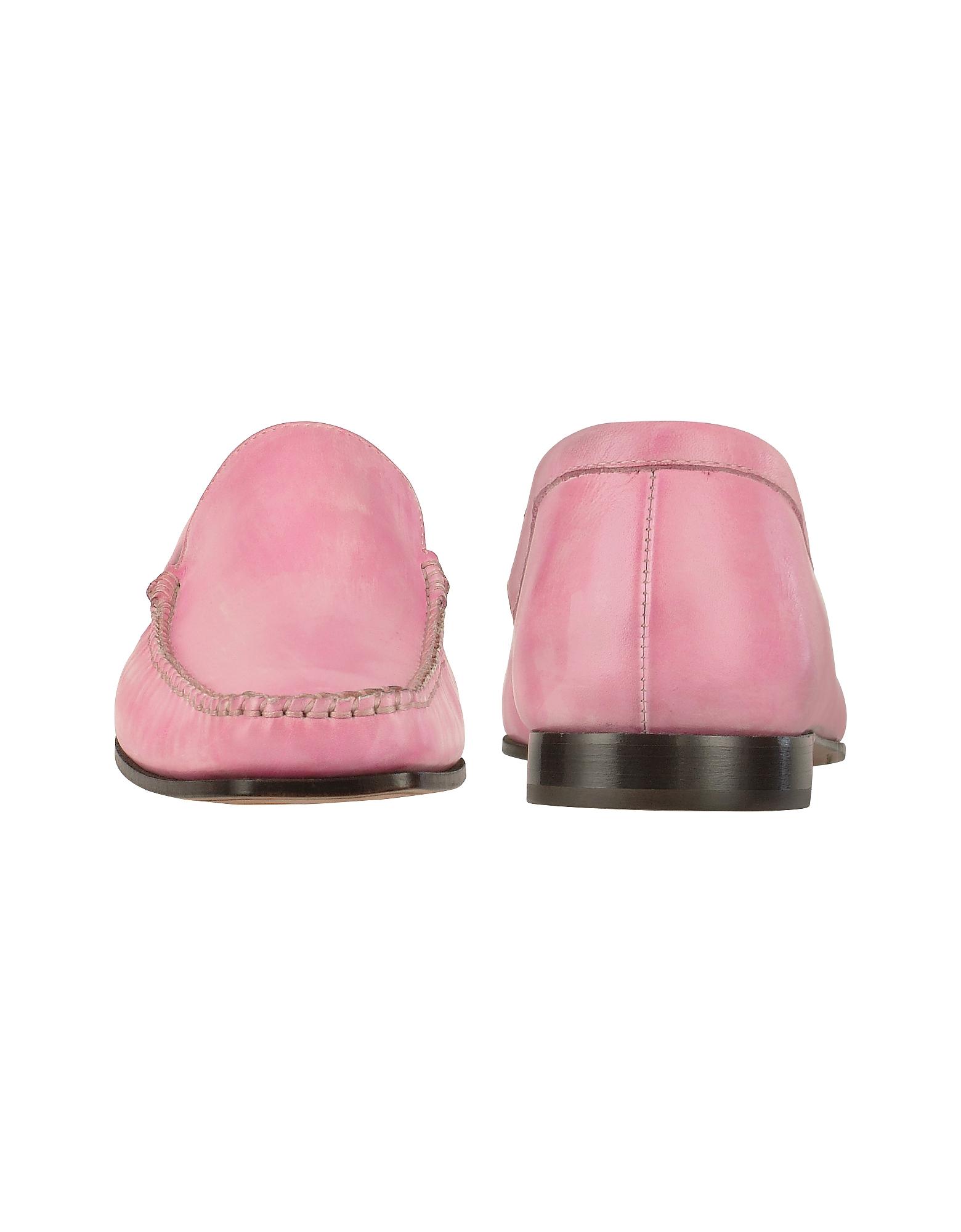 Фото Итальянские Розовые Кожаные Мокасины, Изготовленные Вручную. Купить с доставкой