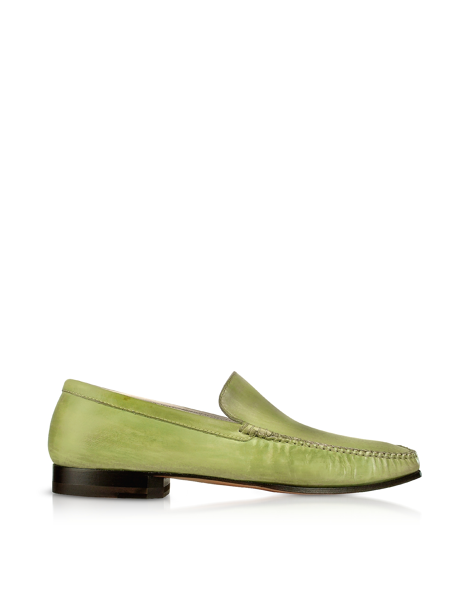 Pakerson Designer Shoes, Pistachio Italian Handmade Leather Loafer Shoes