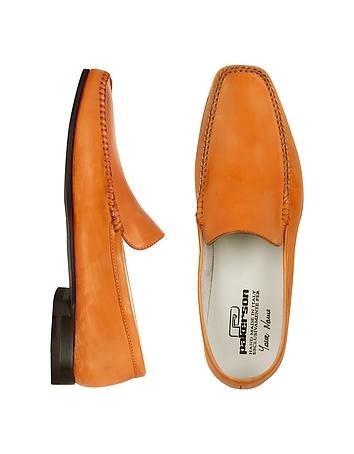 Orange Italian Handmade Leather Loafer Shoes