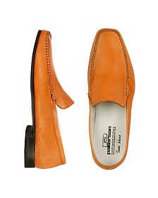 Orange Italian Handmade Leather Loafer Shoes - Pakerson