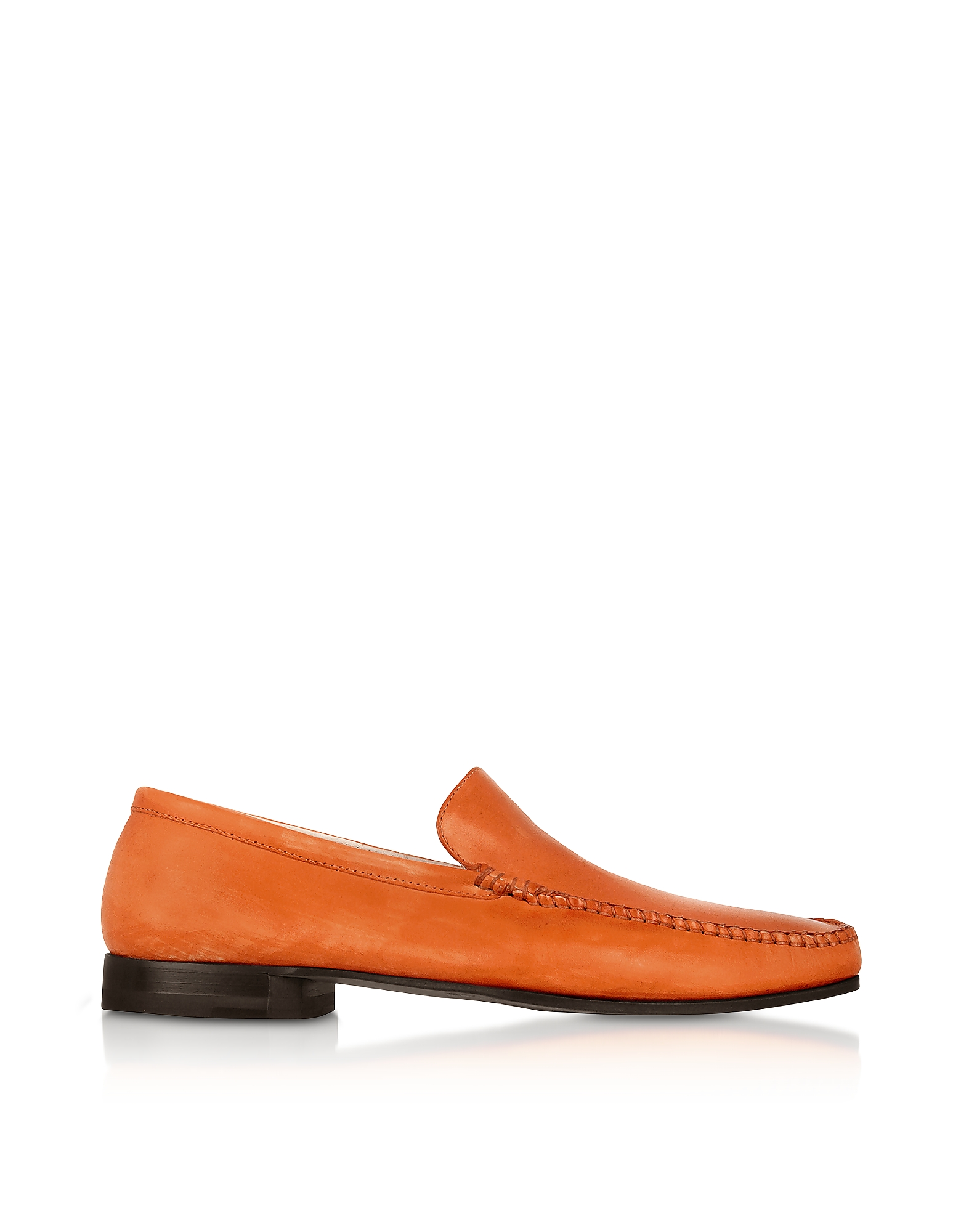 Pakerson Shoes, Orange Italian Handmade Leather Loafer Shoes