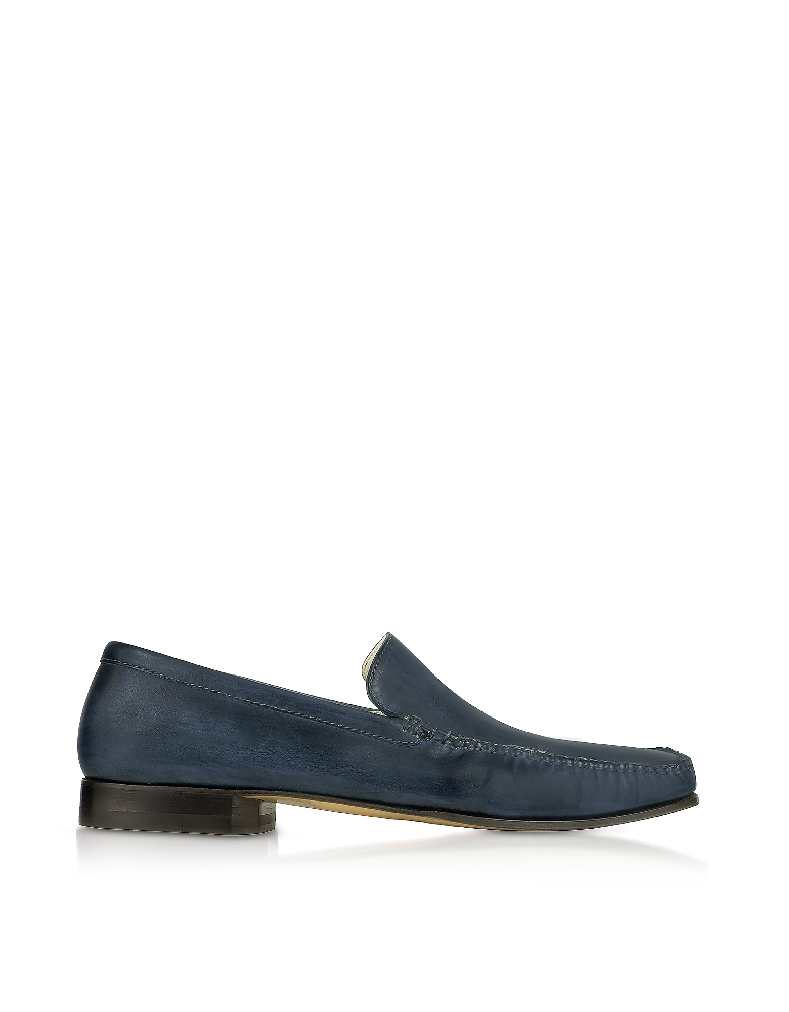 Pakerson Designer Shoes, Blue Italian Handmade Leather Loafer Shoes