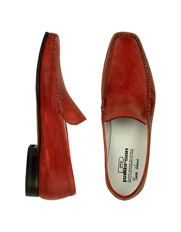 Red Italian Handmade Leather Loafer Shoes