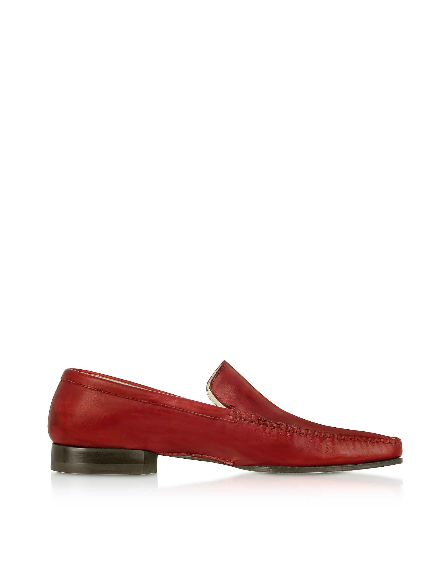 Pakerson Shoes, Red Italian Handmade Leather Loafer Shoes