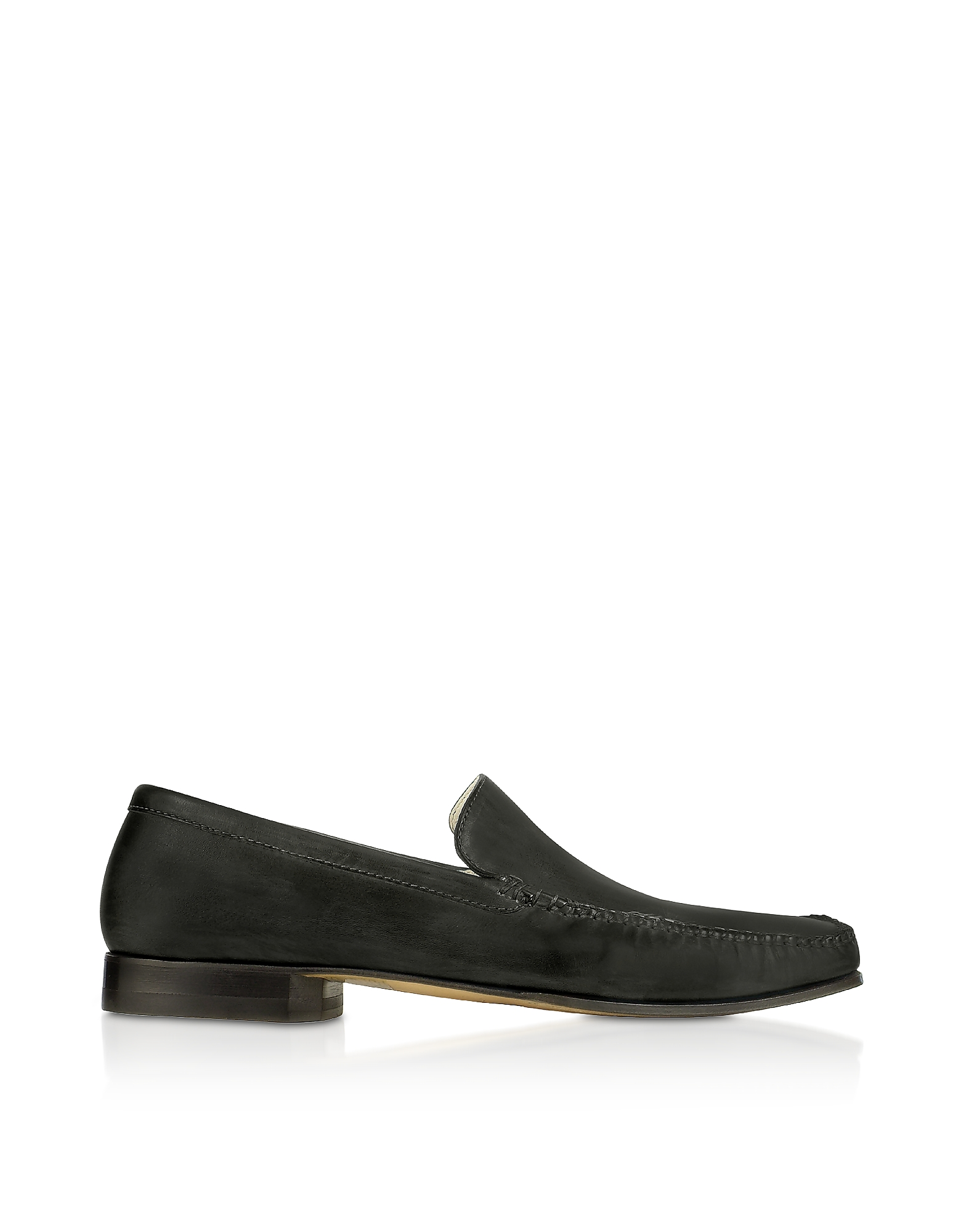 Pakerson Designer Shoes, Black Italian Handmade Leather Loafer Shoes