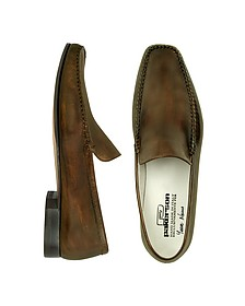 Dark Brown Italian Handmade Leather Loafer Shoes - Pakerson