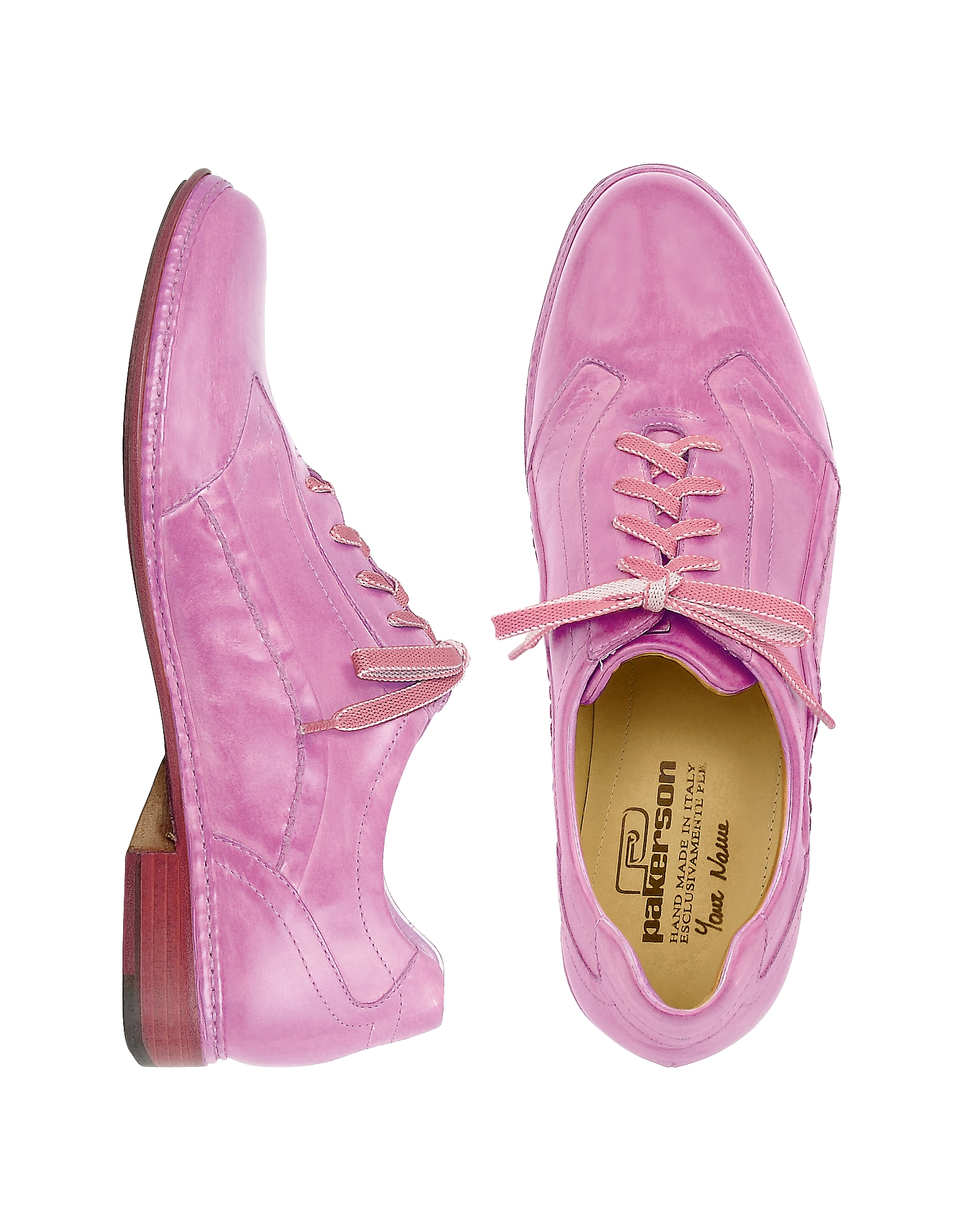 Pakerson Shoes, Pink Italian Handmade Leather Lace-up Shoes