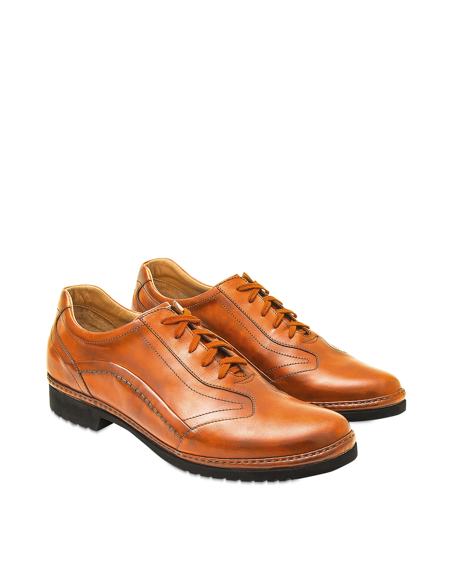 Pakerson Designer Shoes, Orange Italian Handmade Leather Lace-up Shoes