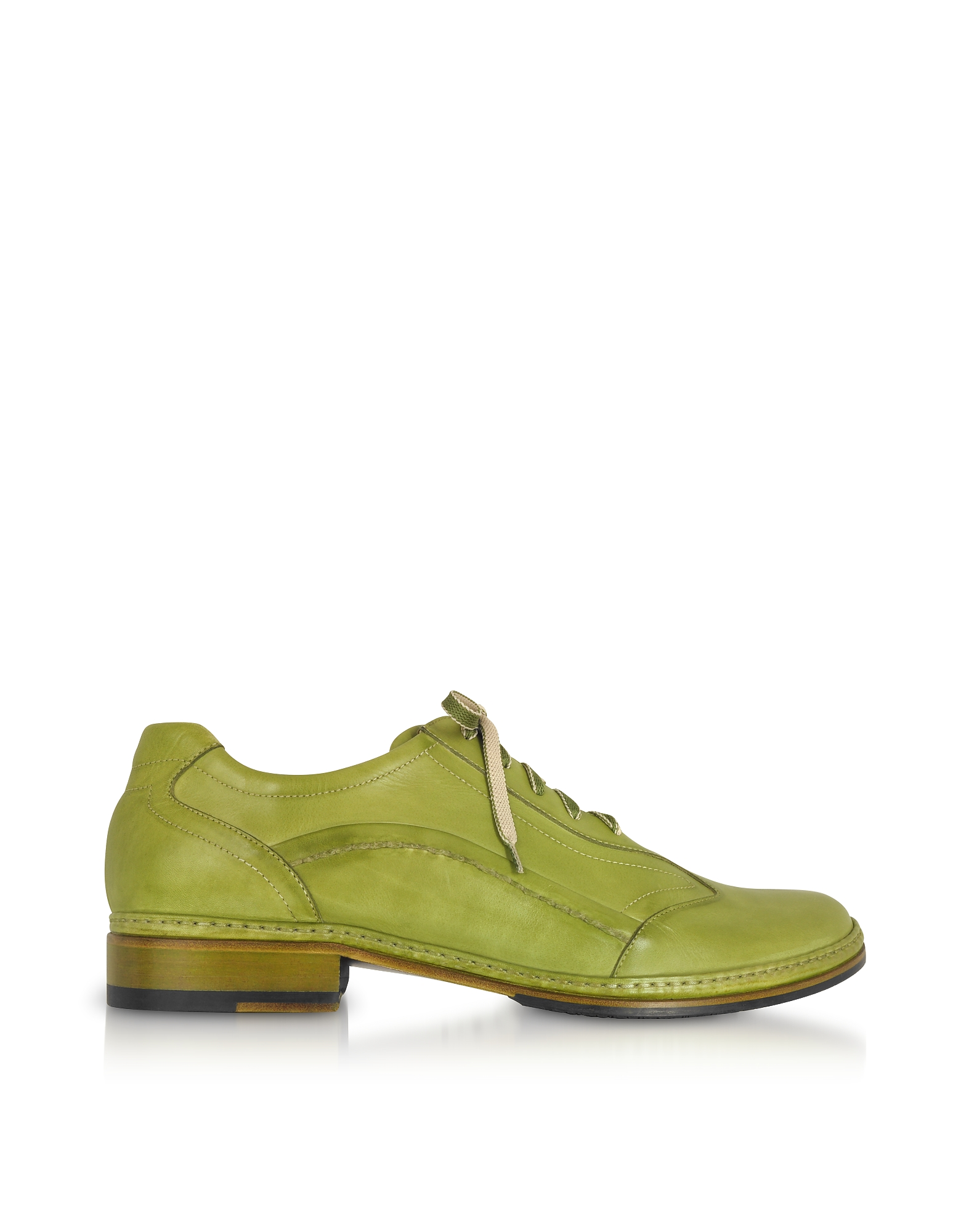 Pakerson Shoes, Pistachio Green Italian Handmade Leather Lace-up Shoes