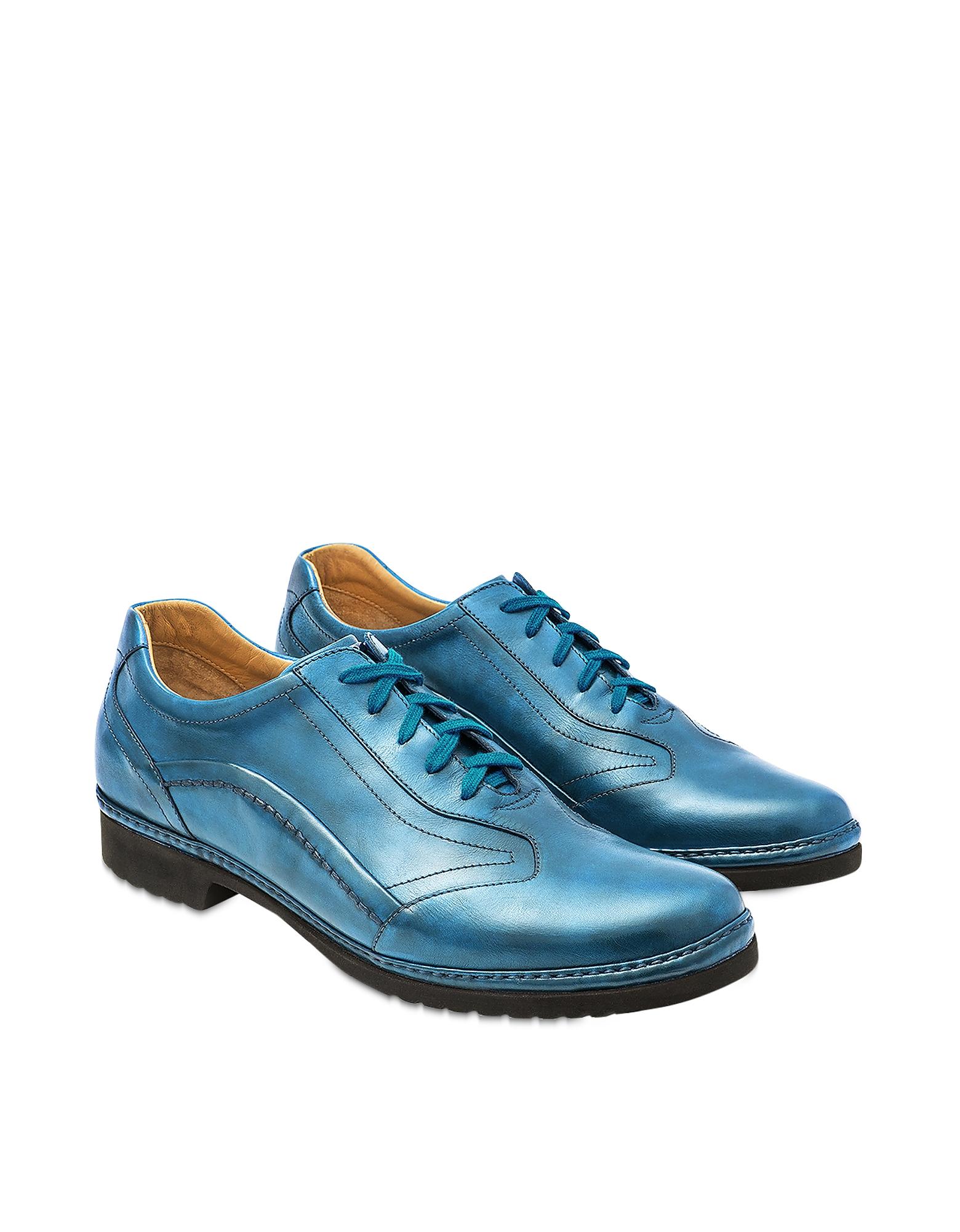 Sky Blue Italian Handmade Leather Lace-up Shoes