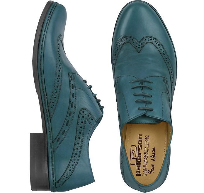 Petrol Blue Handmade Italian Leather Wingtip Oxford Shoes - Pakerson