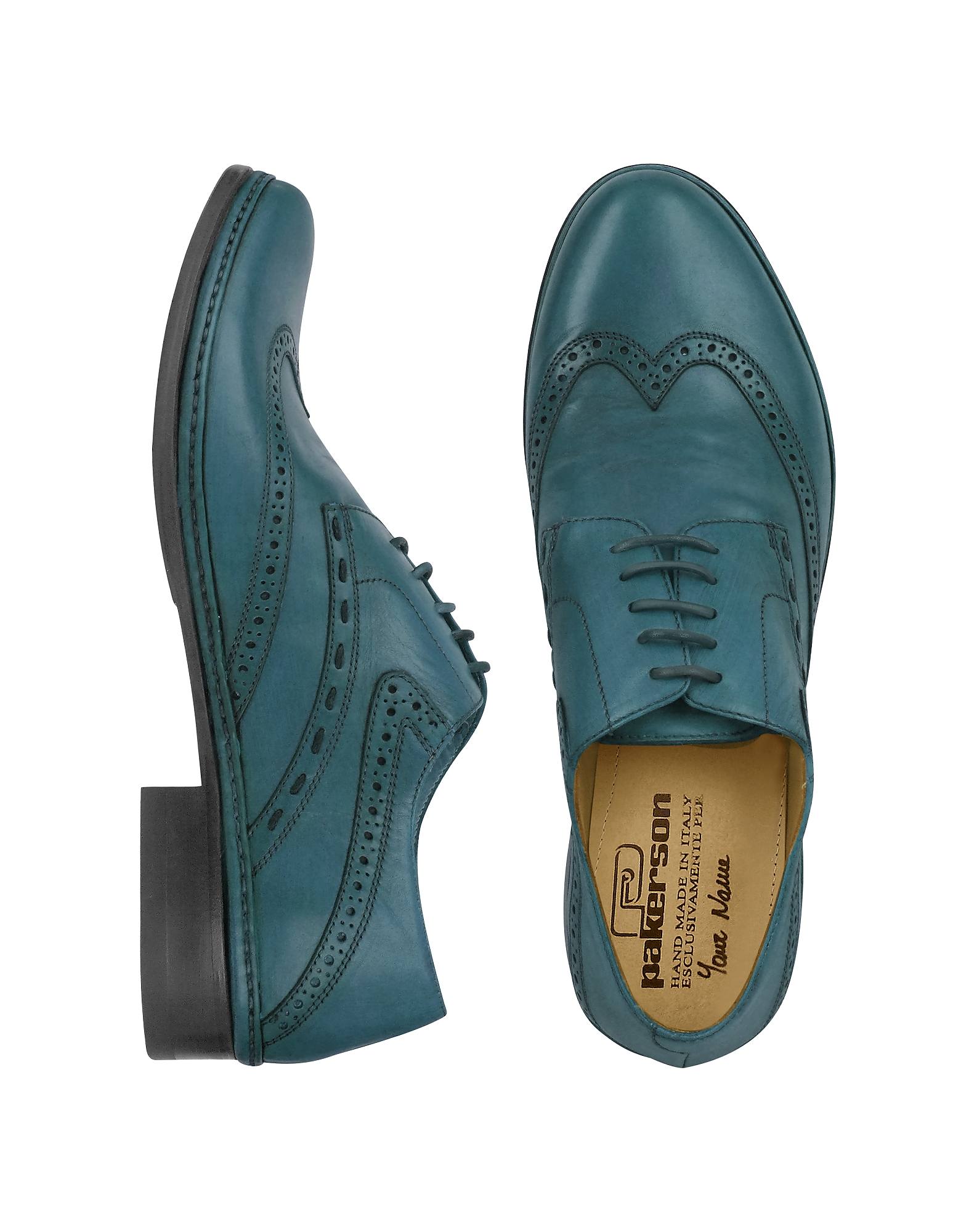 Pakerson Shoes, Petrol Blue Handmade Italian Leather Wingtip Oxford Shoes