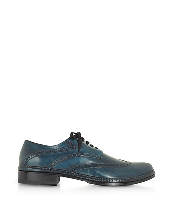 Mens Vintage Style Shoes & Boots| Retro Classic Shoes Petrol Blue Handmade Italian Leather Wingtip Oxford Shoes $498.00 AT vintagedancer.com